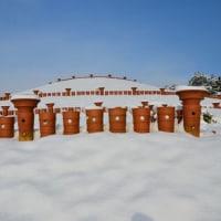 私市丸山古墳公園の雪景色