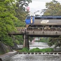 雨の夙川にてEF200の貨物を撮影