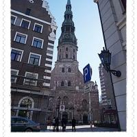 バルト3国16 ラトビアリガ2・聖ペテロ教会・市庁舎広場