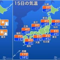 15日も寒波 続く !!