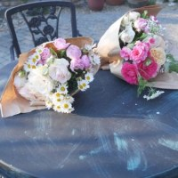 庭の薔薇でブーケと鰆の西京焼