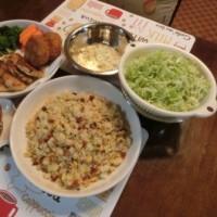 牡蠣パン粉焼き&鮭とばチャーハン