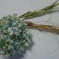 布花レッスンの紫陽花と麦