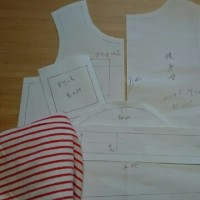 次は90サイズ半袖Tシャツ・・・・型紙写しだけ。  &  昨日の餐魚洞お客さま料理~♪