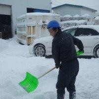 つるつるの氷道から、雪でもこもこの道(モコ道)になったんで雪かき大会!