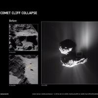 崩壊する崖が彗星の内部を明らかにする