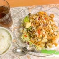 今日はキムチとか豆腐とか使って…。