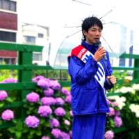 雨が横に向かって降ってくる土砂降り──23日の午後2時から小池書記局長が町田駅マルイ前に来ます
