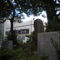 『浪速史跡めぐり』舎(せい)密局(みつきょく)跡(あと)・大阪は大手通りの警察会館前の道路筋の歩道を塞ぐように大木があって祠がある