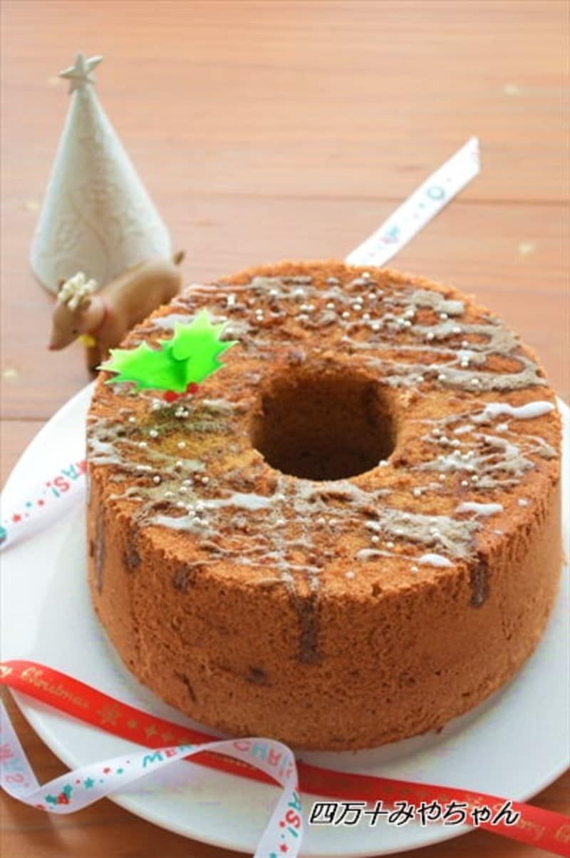 クリスマスにも!ホットケーキミックスで♪コーヒーシフォンケーキ