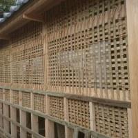 倉敷市内の門塀改築現場で竹小舞組み上げ