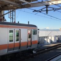 ホームから拝む富士山