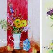絵画販売・水彩原画「赤いタペストリーと金盞花」「カキツバタと薔薇の花瓶」
