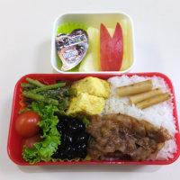 豚肉の生姜焼きと小松菜のゴマ和えの お弁当