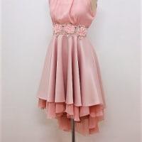 パーティードレス503 結婚式や演奏会のパーティードレス アメリカンスリーブのテールカットのワンピース 新色ピンクが追加