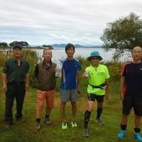 琵琶湖、残りの半周ランニングし、前回と併せて琵琶湖一周ランニング完走しました。