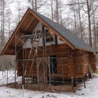 破風の塗装と足場の建て替え