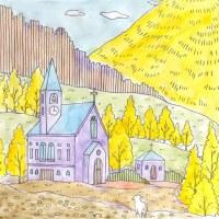 西洋の山村の塗り絵(3)