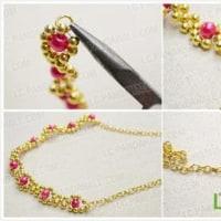 シンプルなビーズの花の織りネックレスを作ります
