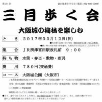 [お知らせ]三月歩く会:大阪城の梅林を楽しむ