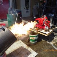 会社にてバーナー燃焼試験