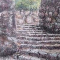 楽描き水彩画「信長の安土城天守跡へ最後の石段」