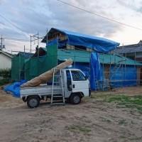 総社市久代での住宅リノベーション工事現場も屋根工事開始