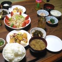 夕飯◆いかとジャガイモと卵煮、ピリ辛糸昆布