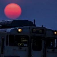 夕陽を背負い走る列車
