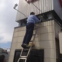 紅屋 広告塔点検作業