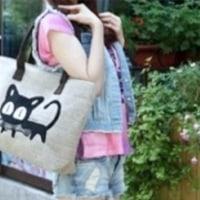 お魚くわえたどら猫 バッグ 可愛い カジュアル トート 帆布 製 4 色