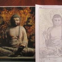 仏像の絵を描く