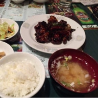 今日のお昼ご飯  三元豚と若鶏黒酢風定食
