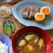 茄子と茗荷のおつゆ・豚と卵のしょうゆ煮・・・おっと朝餉