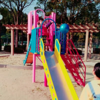 滲んだ公園