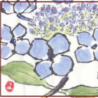 紫陽花とベランダの花
