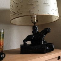 1950's us vintage black panther table lamp