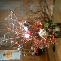 お蕎麦屋さんのクリスマスオブジェ(◎-◎;)