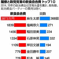 安倍氏の献金等の収入、約1億5千万円也!/「年金カット法案」の仕組み / 多額な閣僚らの飲食費!。