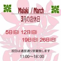 ☆3月の店休日のお知らせ☆