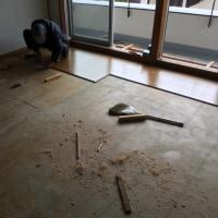 絨毯を捲し上げ フローリングに張り替える作業 茨城 利根 2月