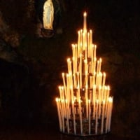 Lourdes grotto candles