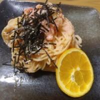 [637]明太パスタにオレンジ