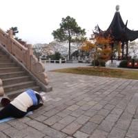 階段で体操
