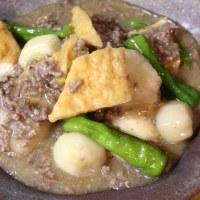 ミートソーススパゲッティ&厚揚げと小芋の味噌煮