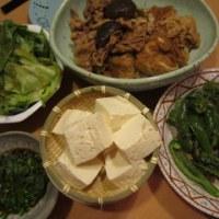 麩と豚肉の煮物&緑色いろいろ:休日ディナー【4/2】