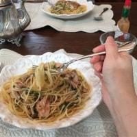 ツナと水菜トマトのパスタ