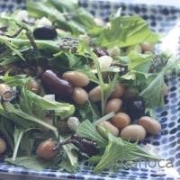 「汐吹き昆布ささめ」とお豆と水菜のサラダ