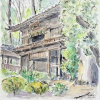 中山法華経寺は荒行の最中で、読経の中でスケッチです