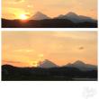 夕陽が由布岳と飯盛ヶ城の間に沈む